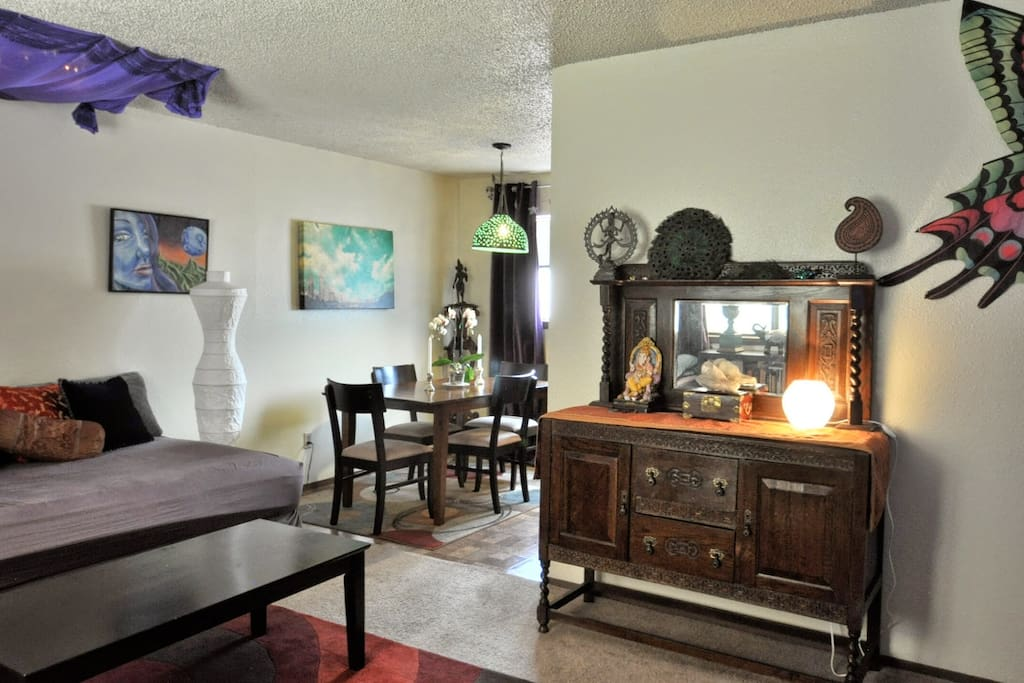 The view from the entry way of the living and dining rooms,