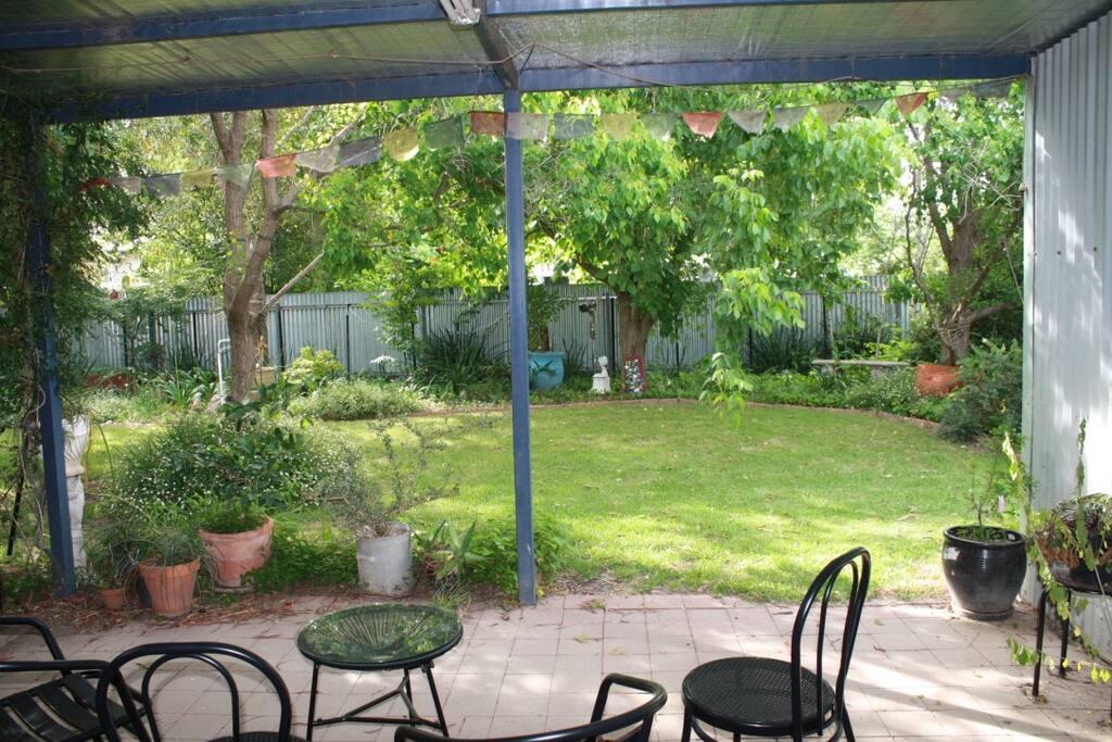 patio overlooking shady garden