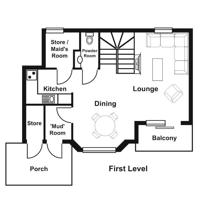 """""""Yama 1's"""" spacious interior is bathed in natural light and extends over 2 levels. The sophisticated living and dining areas, and the fully equipped kitchen, plus 1/2 bathroom are located on the lower level."""