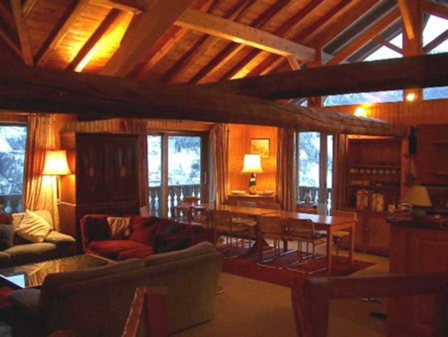 The main living area with big open fireplace