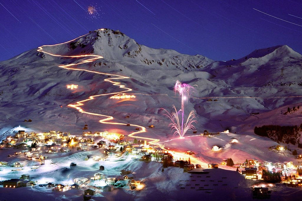 Flims village at night