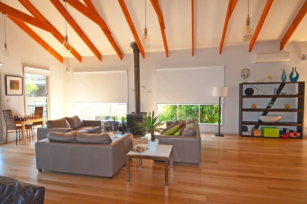 Spacious Living Room with Wood Heater