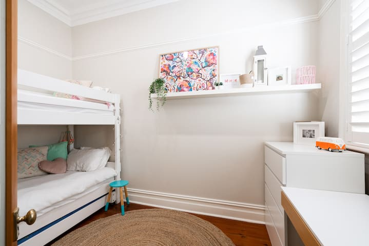 Bedroom 4 - Very beautiful light filled room with single bunks and pull out trundle