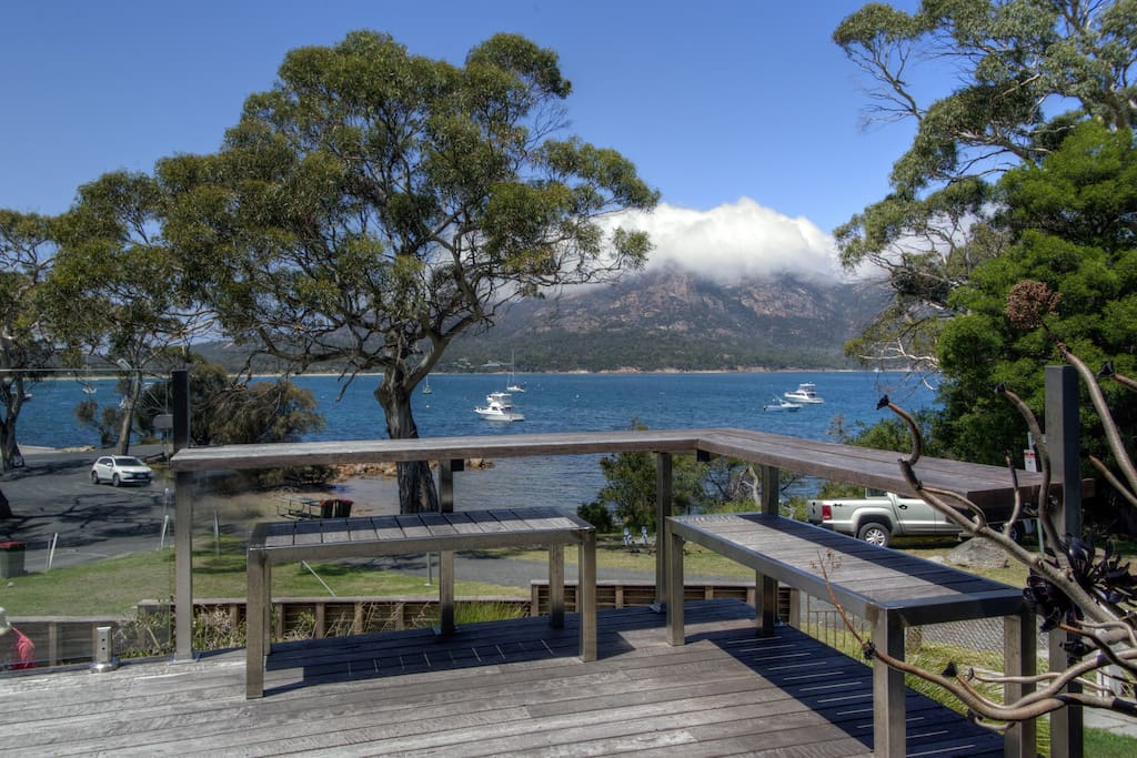 Enjoy a coffee or a glass of wine while having one of the best views in Coles Bay.
