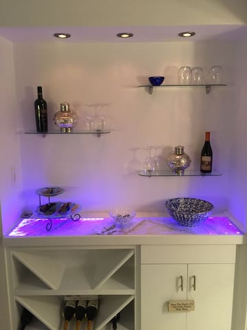 LED lit and color changing wine bar.