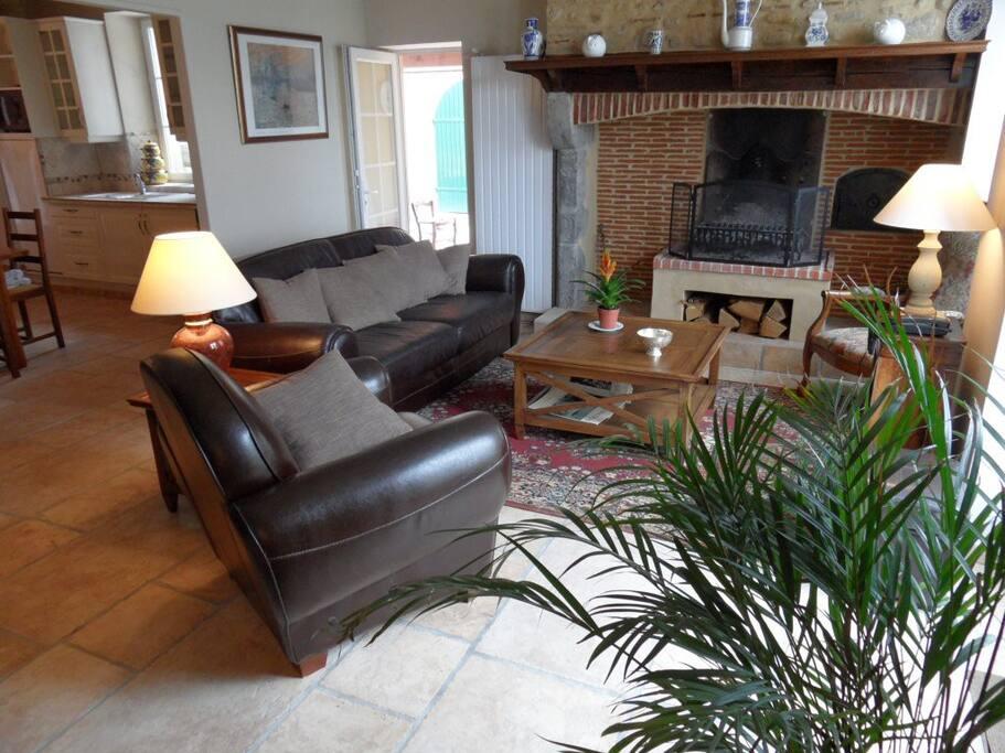 Salon: intérieur cosy et feu de bois