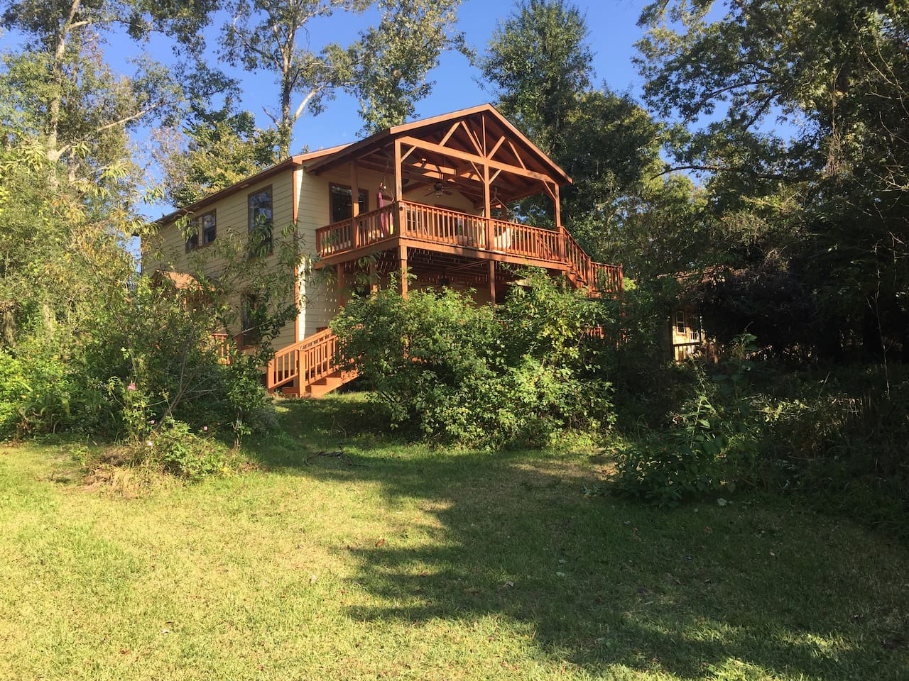 View of new house and decks from the river