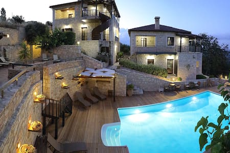 Traditional stone villa -8 people - Kato Asites