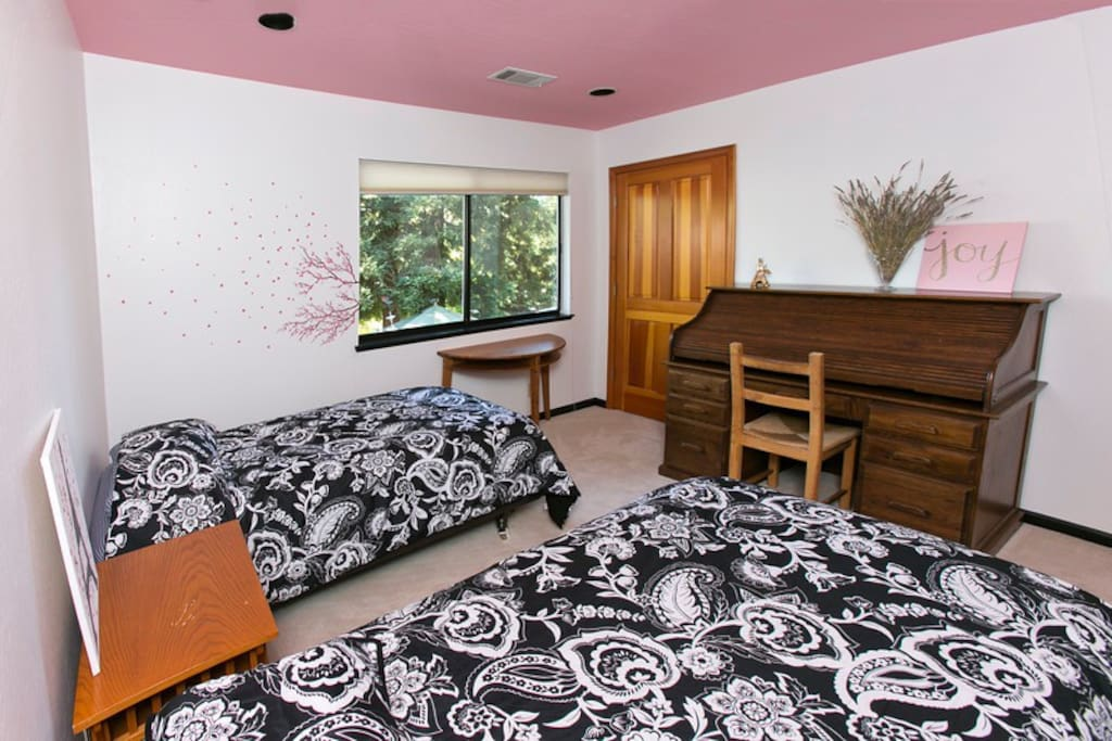 Twin beds in the second bedroom with desk and closet