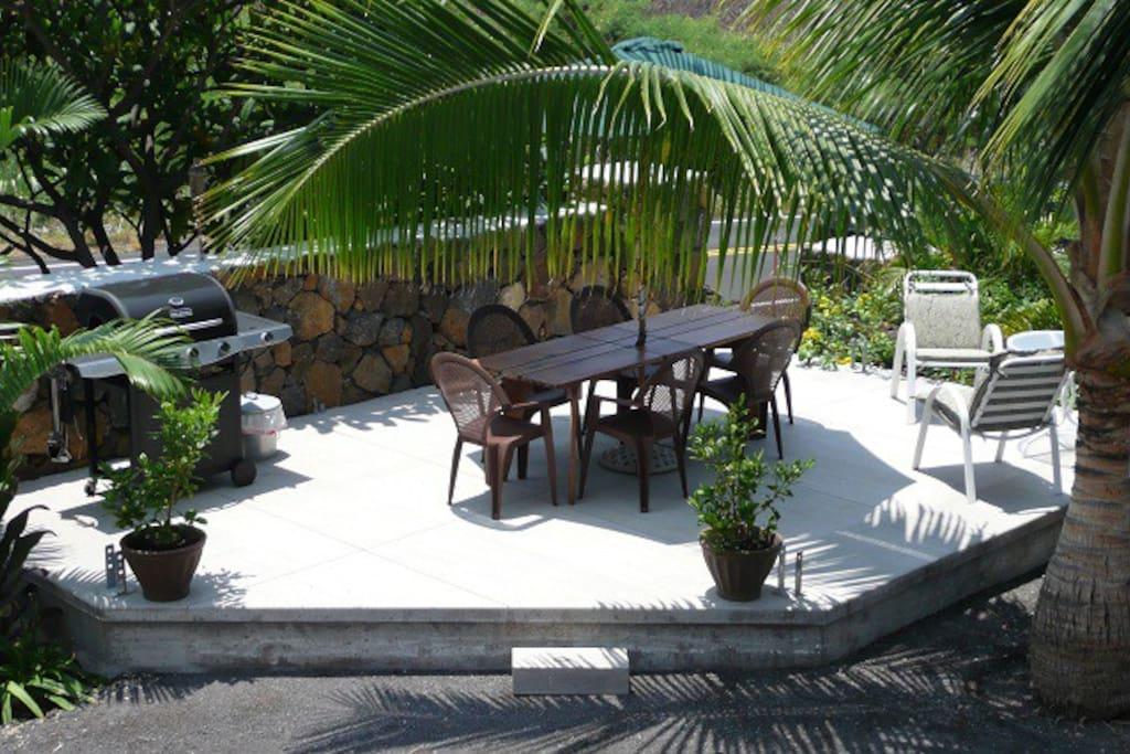 Community patio on property.