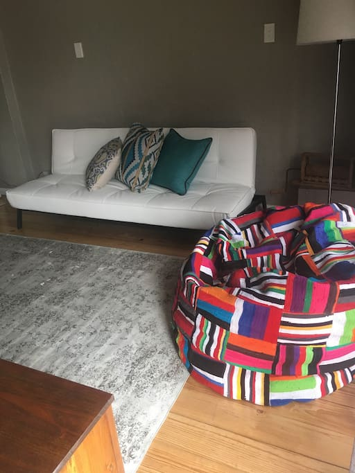 Lounge with sleeper sofa and bean bag