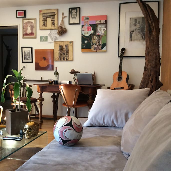 Our living room (love football, music and art)