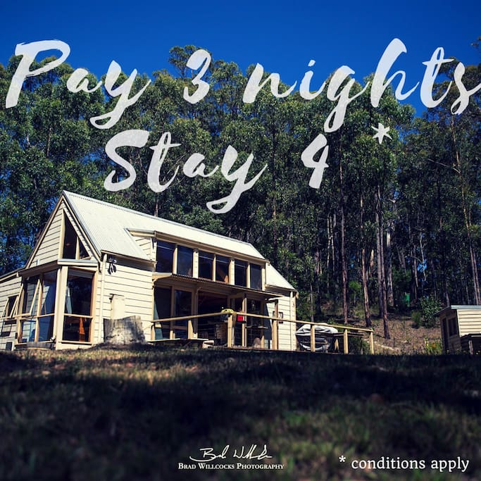 Please enquire: applicable to weekend and midweek bookings. Not including Public Holidays, School Holidays or any dates during July/August.