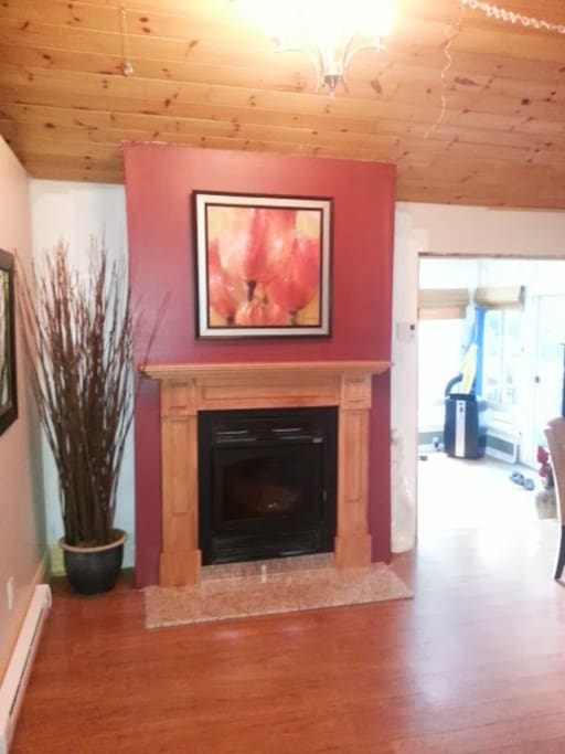 Double Sided Wood Fireplace. Facing living/Dinning/Kitchen