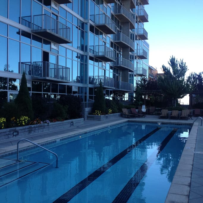The unit is above the pool. Plenty of privacy and great views.