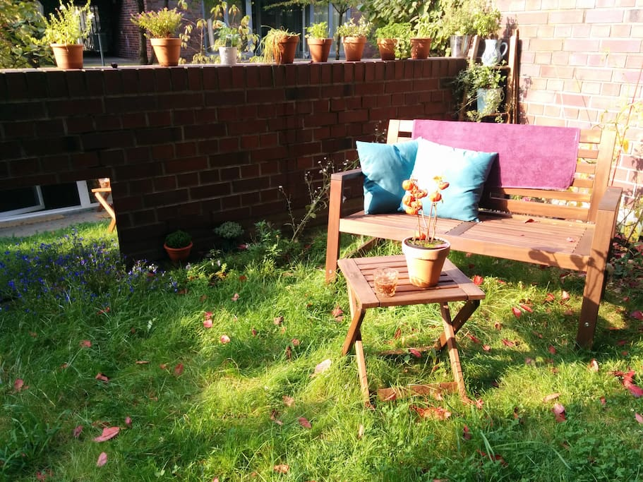 Sunny Garden with a selection of Herbs for you to pluck.