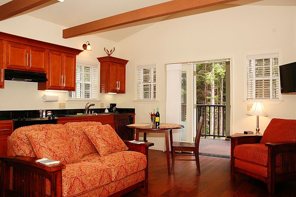 Welcome to the Eagles View Suite, privately located adjacent to a forested treeline. The vista from the covered porch includes forested Beach Creek and the Tranquility Pond.