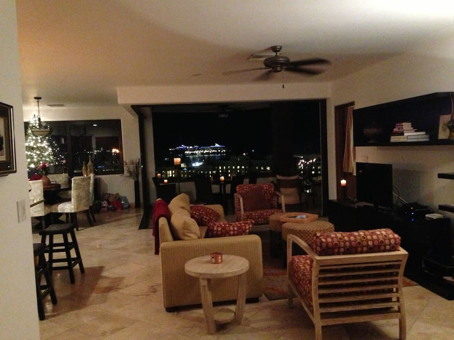 Our Family Room looking out looking out to town with the glass wall open.