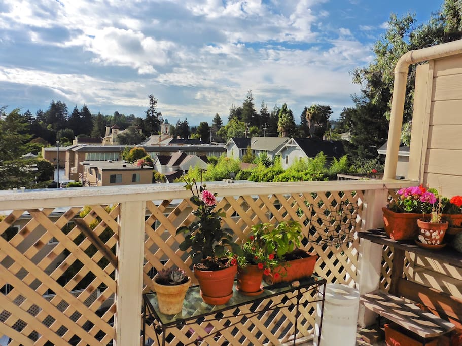 Balcony with great view of Mt. Tam- and charming place to sit for meals, as well as relax, easy walk to charming town of Larkspur
