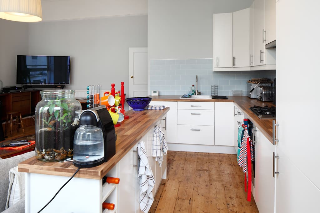 Kitchen with all modern conveniences - dishwasher, microwave, kettle, coffee machine, etc