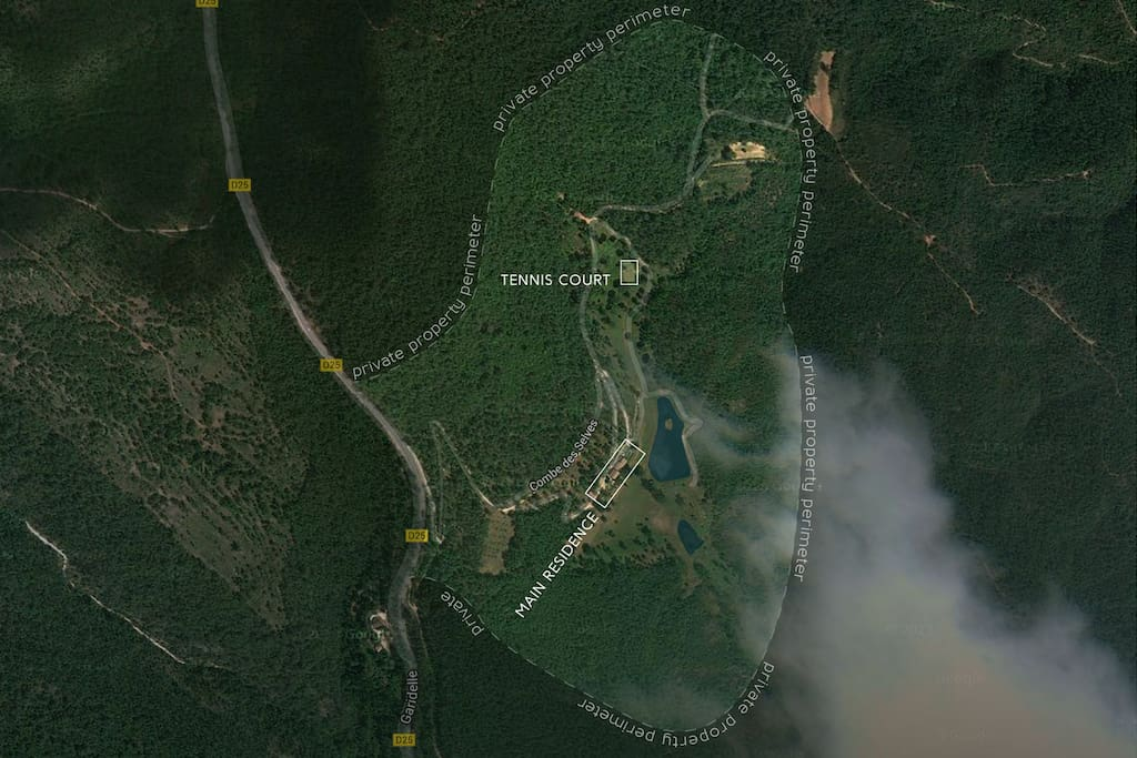 Satellite view of the Property. Complete Privacy!