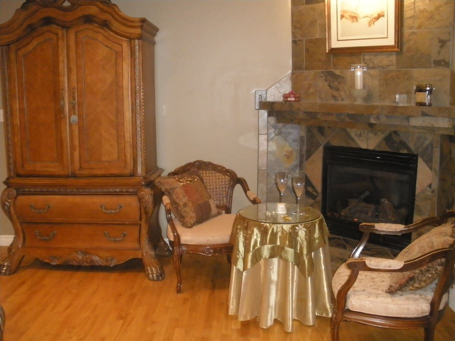 Natural Gas Fireplace with Seating Area and Table