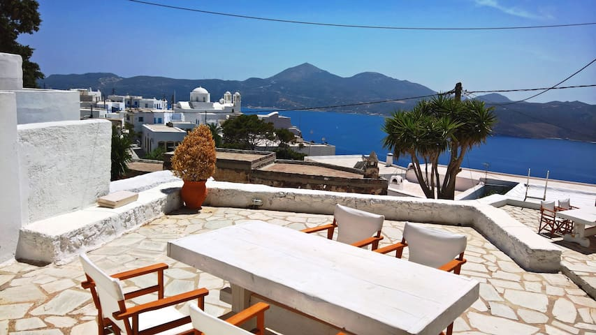 Amazing view in the centre of Plaka, Milos island