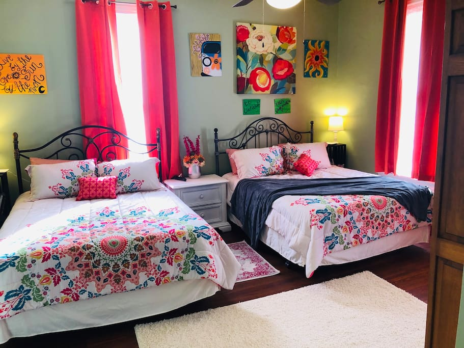 The Double Queen room features 2 queen beds and LOTS of closet space!