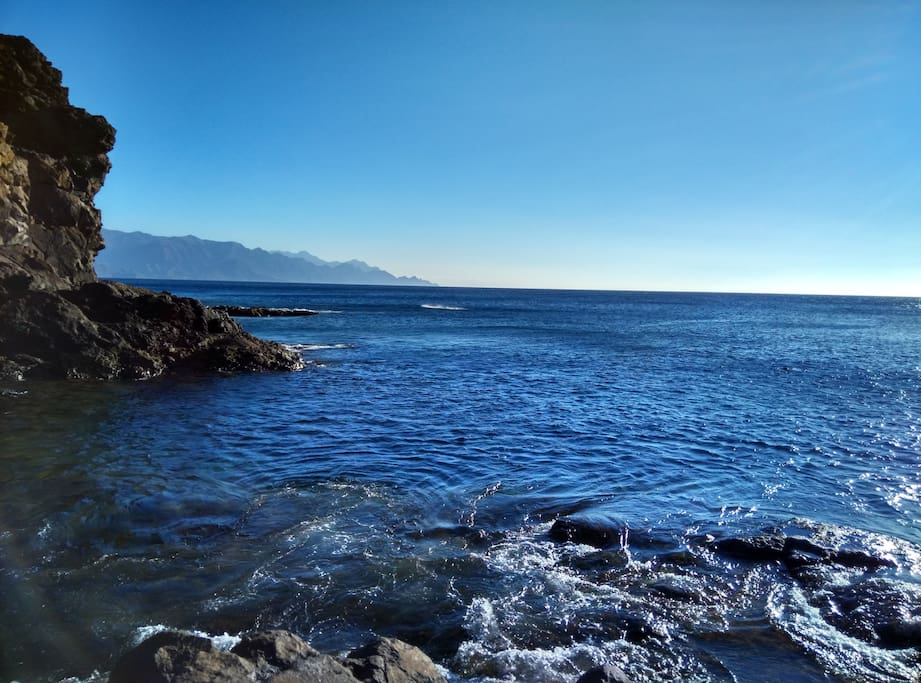 Coast, swimming and fishing area. Crystal clear waters of the Atlantic Ocean.