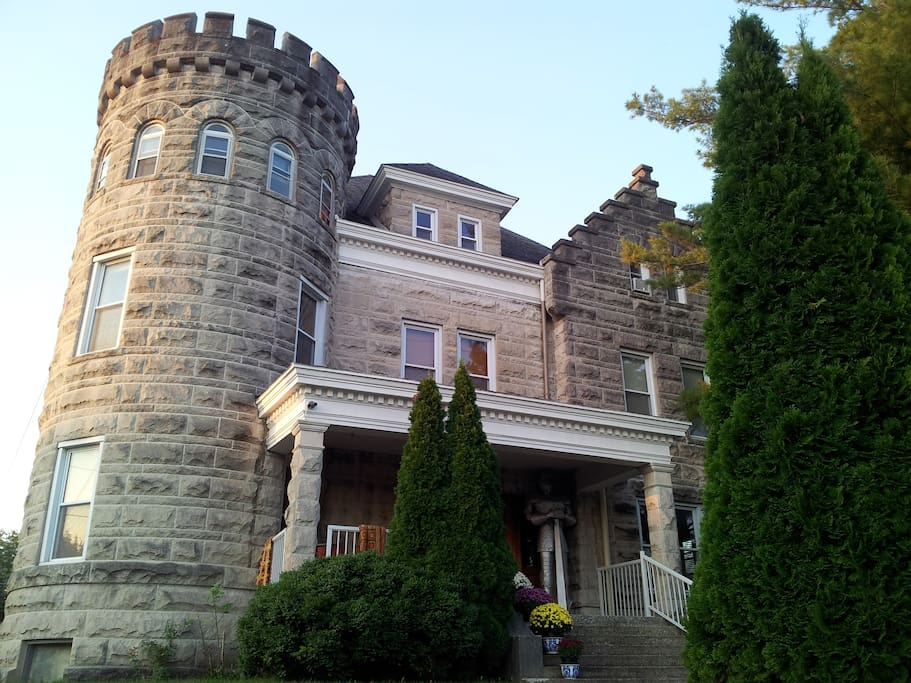 The Sheriff's House was constructed in 1904 in a dramatic renovation of the old 1850's Lawrence County Jail, using massive blocks of local Dark Hollow limestone.