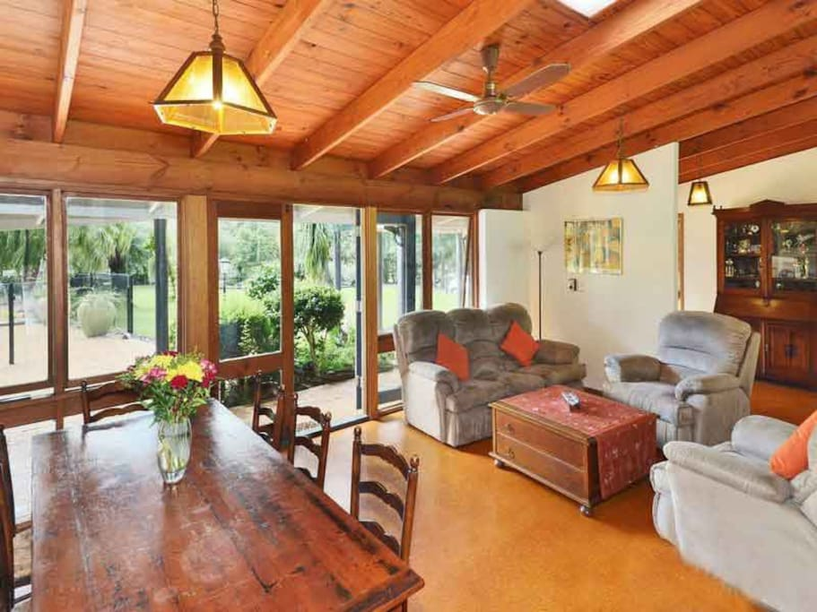 Dining and sitting rrom McCarthy Lake House Maleny Accommodation