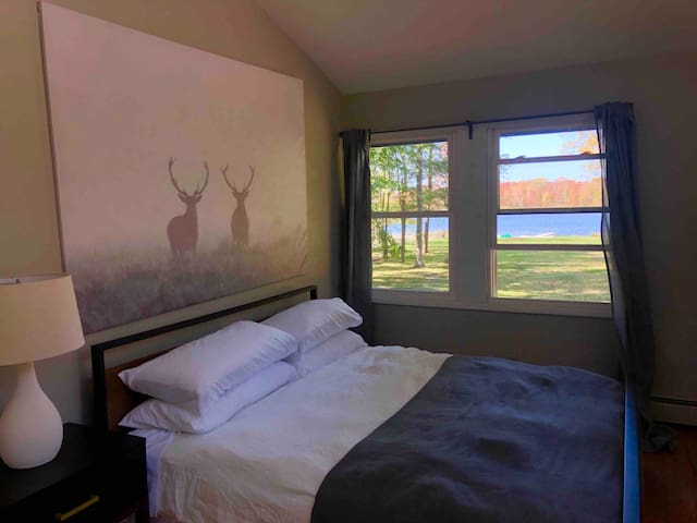 Bedroom 1 with king bed, lake views, and walk-in closet.