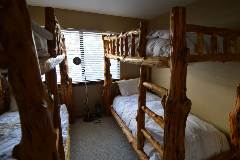 Bunk room with log bunks, a must have for any ski condo.