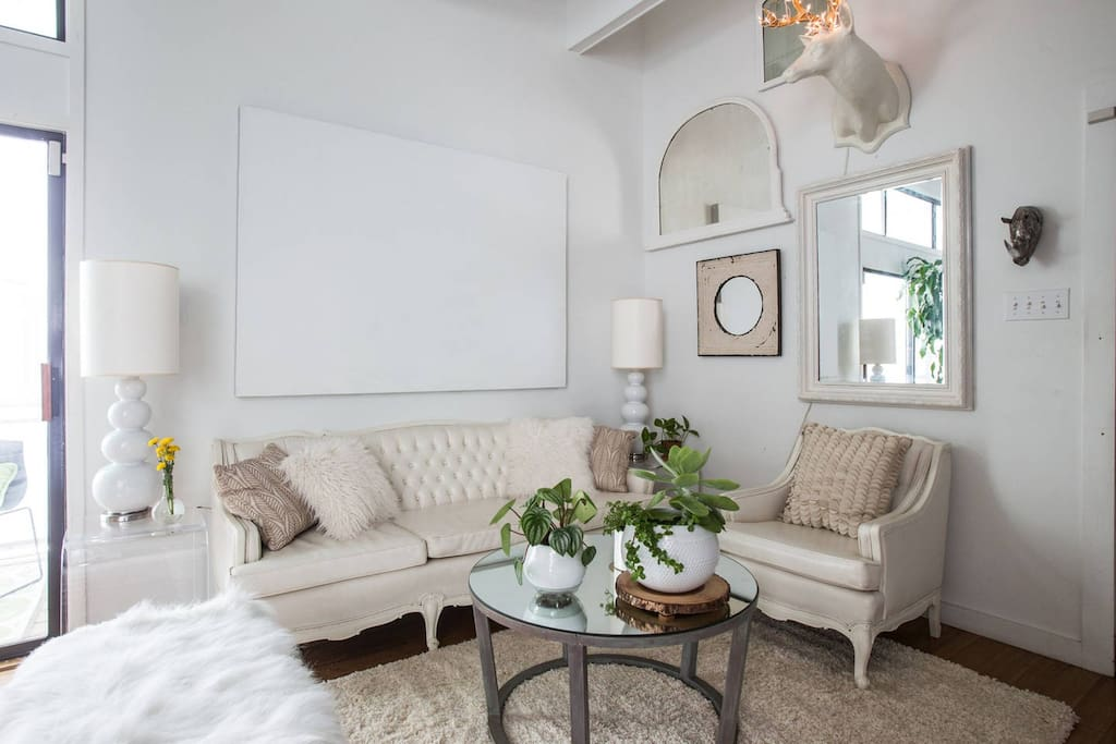 The living room dressed all in creams and whites - it's very calming!