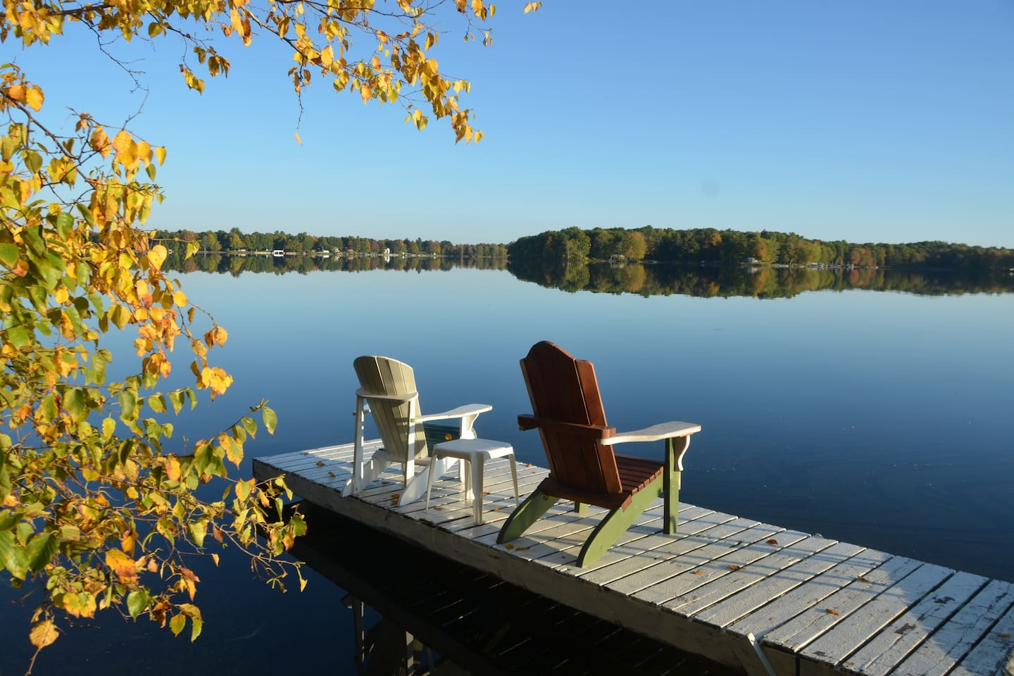 Autumn day on the dock... this listing is available year around so click forward for photos of all 4 seasons.