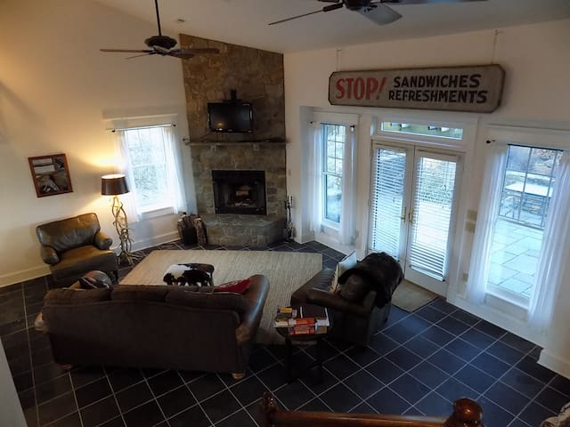 Open living room with fireplace and patio access.  Wifi access for streaming videos.