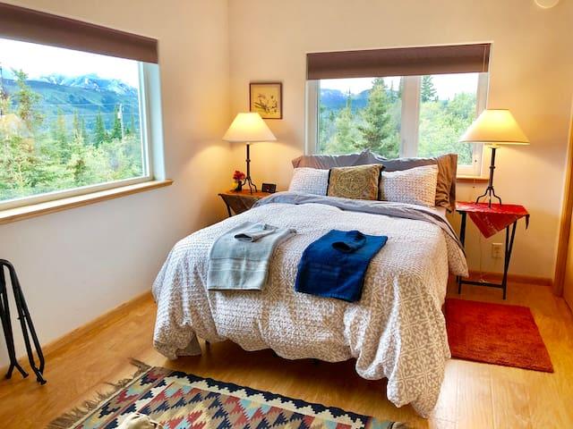 Bedroom #2 - full bed - upstairs. Bedroom door. Private.