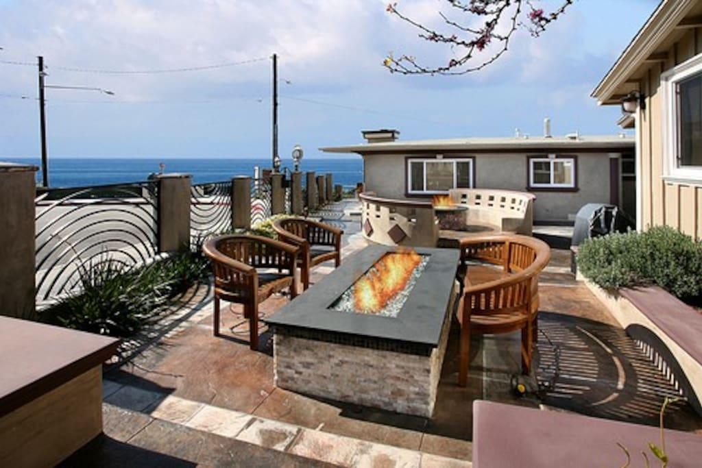 Ocean-Facing Courtyard with Fire Pits