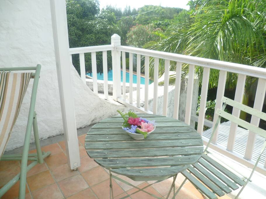La terrasse de la chambre verte