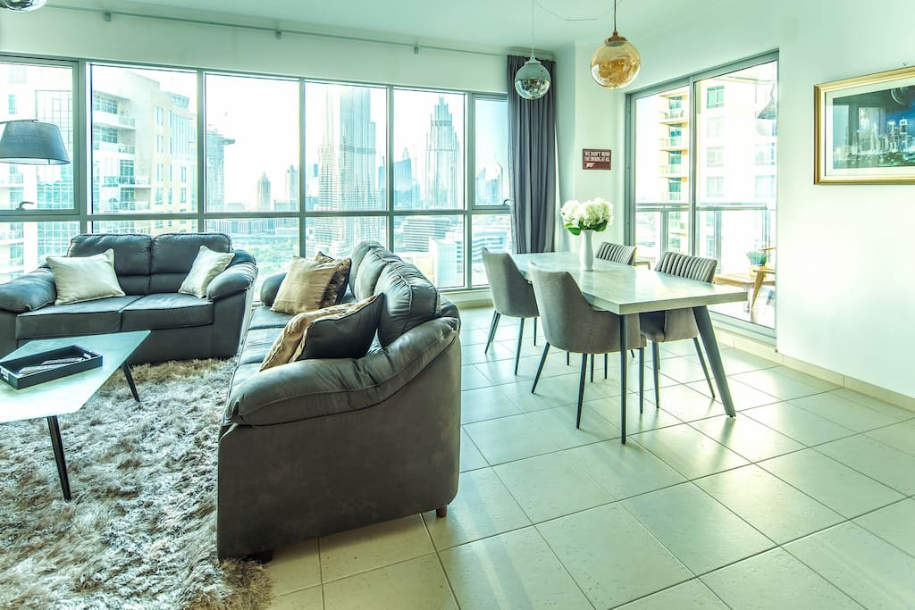 Living and Dining Area - Full Burj Khalifa Views!