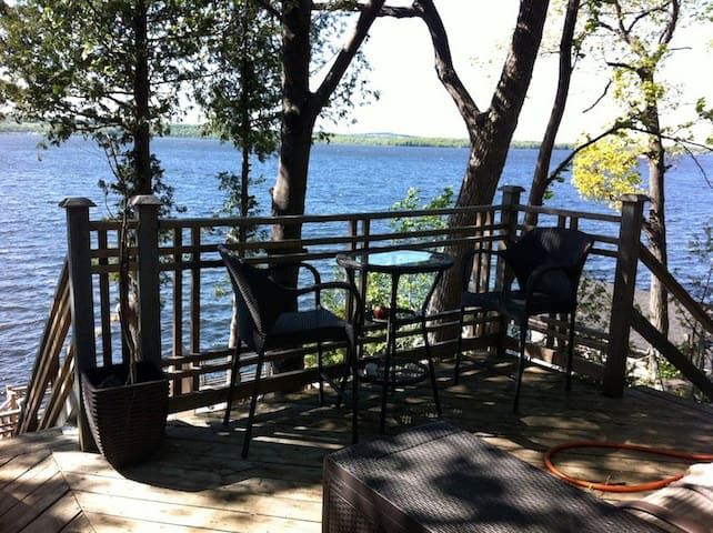 Upper deck, great space for an evening meal.  Bbq on this deck with walk out from cottage.