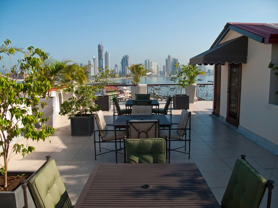 Beautiful rooftop deck for drinks or relaxing.