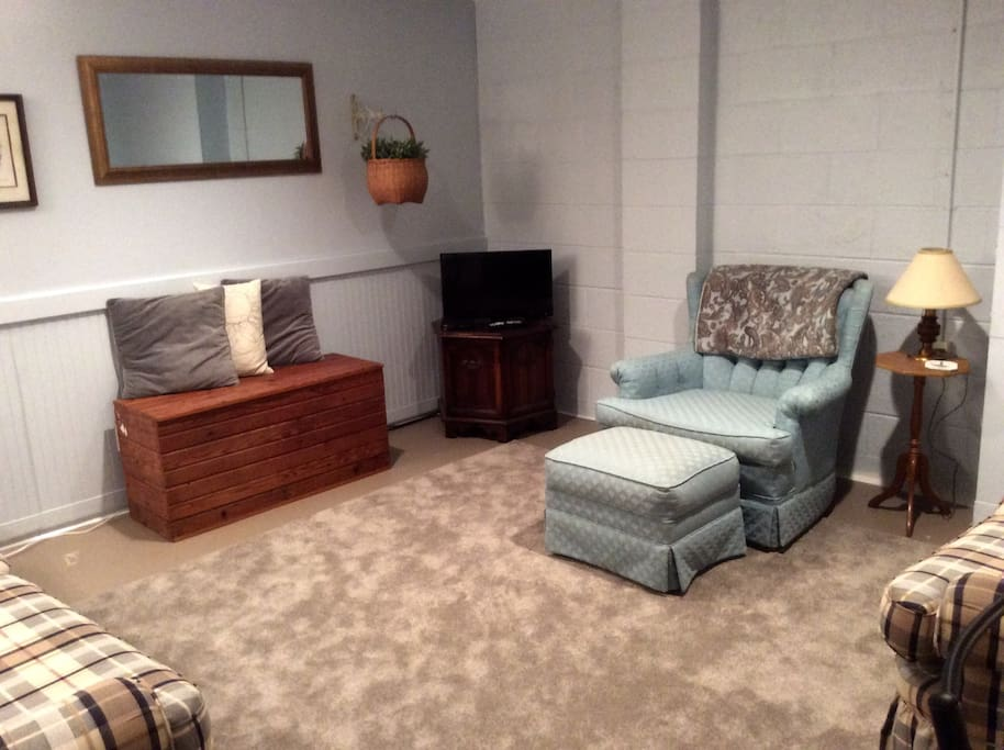 Comfortable living area with TV. Sofa can sleep a 5th person. (Dish Networki)