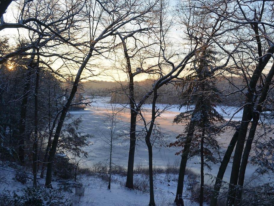 Farrar Pond on a winter morning.