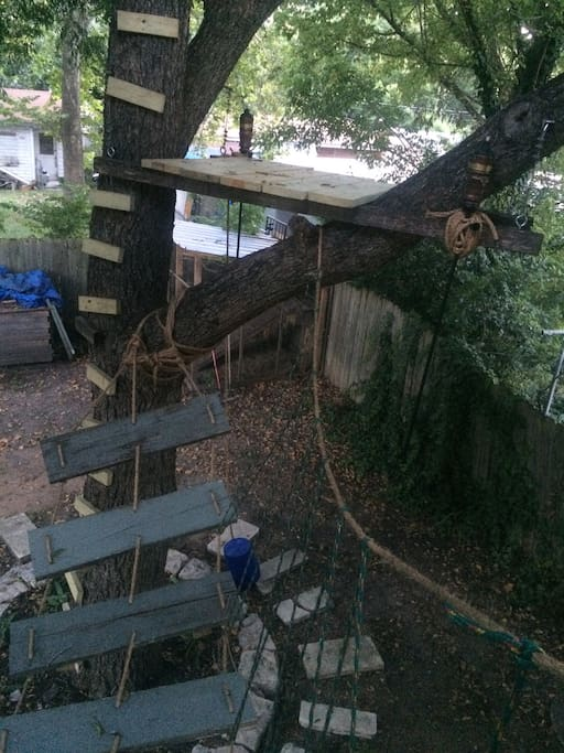 treehouse and rope bridge to the balcony