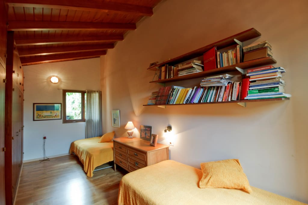 It´s has a small library and ceiling fan.