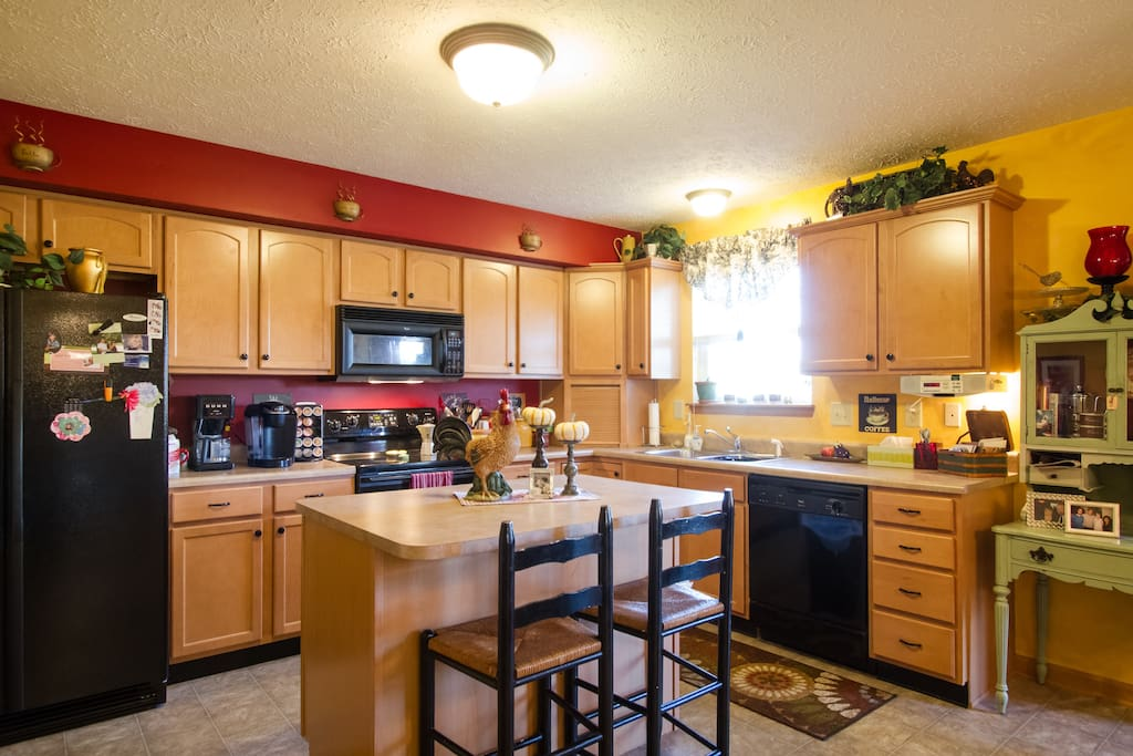 Spacious and well-stocked kitchen available!