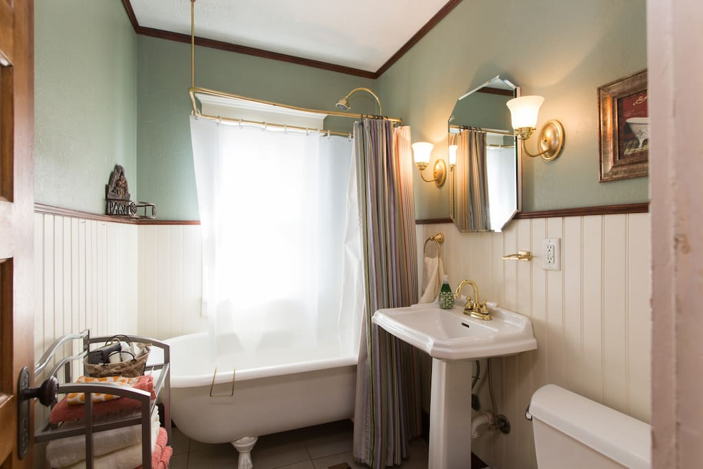 Take a refreshing shower in the clawfoot bathtub, we'll provide the towels and toiletries