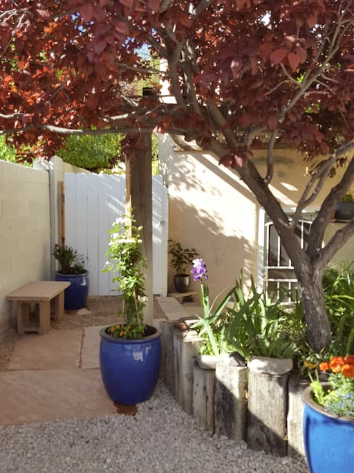 Private secure entrance tucked away a few steps from your own driveway parking space.