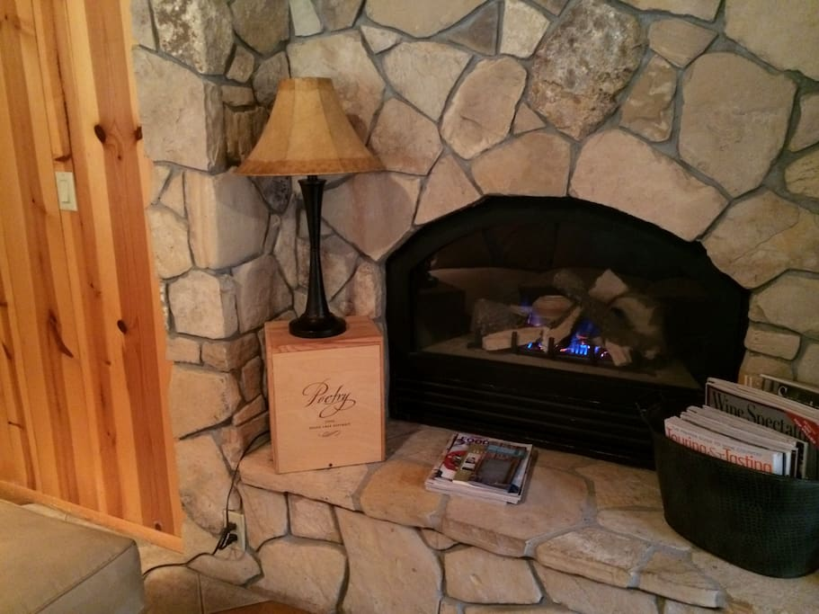 Rock fireplace in main seating area